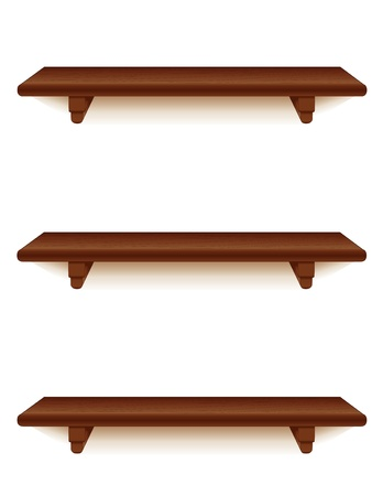 three shelves: Mahogony wood wall shelves with brackets isolated on white  Illustration