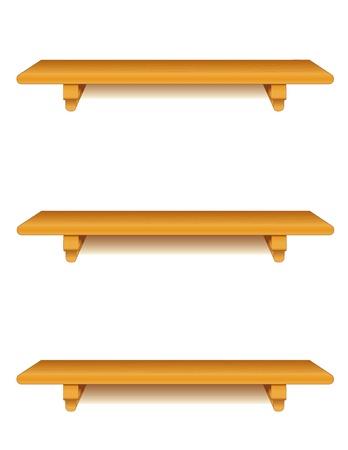 haya: De madera de roble estantes de la pared con soportes aislados en blanco