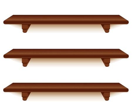 ブラケット白で隔離される広いマホガニー ウッドの壁棚  イラスト・ベクター素材