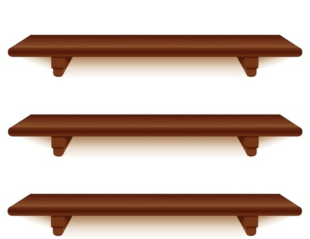 Wide mahogany wood wall shelves with brackets isolated on white  Ilustração