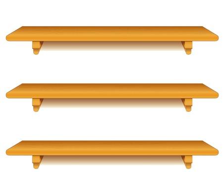 幅広いオーク ウッドの壁棚を白で隔離され角かっこ  イラスト・ベクター素材
