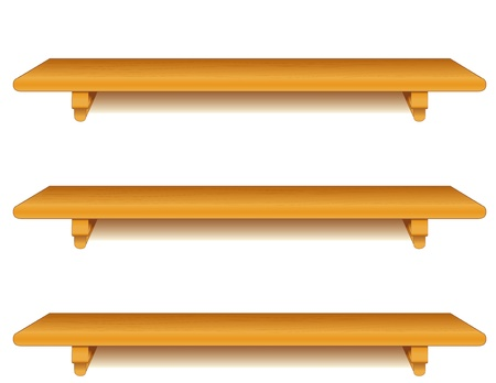 three shelves: Wide oak wood wall shelves with brackets isolated on white