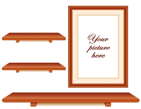 picture frame on wall: Cherry wood wood shelves and picture frame wall group with copy space