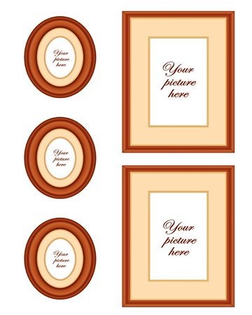 Cherry wood picture frame wall gallery with copy space Stock Vector - 13699697
