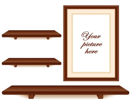 caoba: Estantes de caoba de madera y marco de fotos de la pared de grupo con copia espacio Vectores