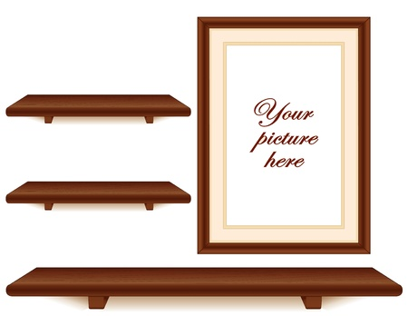 wall hanging: Mahogany wood shelves and picture frame wall group with copy space