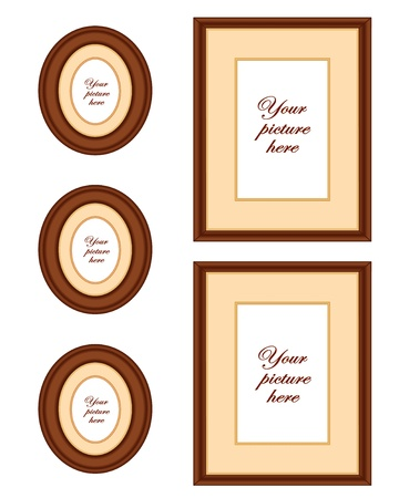 Mahogany wood picture frame wall gallery with copy space  Stock Vector - 13699698