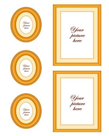 Oak wood picture frame wall gallery with copy space Stock Vector - 13699701