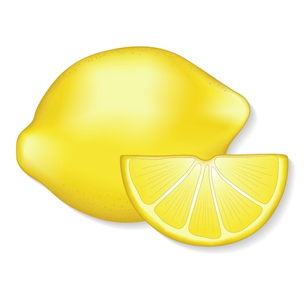 antioxidant: Lemon and lemon slice illustration isolated on white  EPS8 compatible