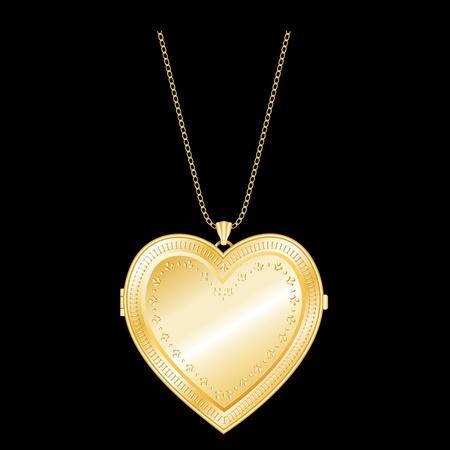 medaglione: Engraved Gold Heart Locket, Collana Gold Chain compatibile