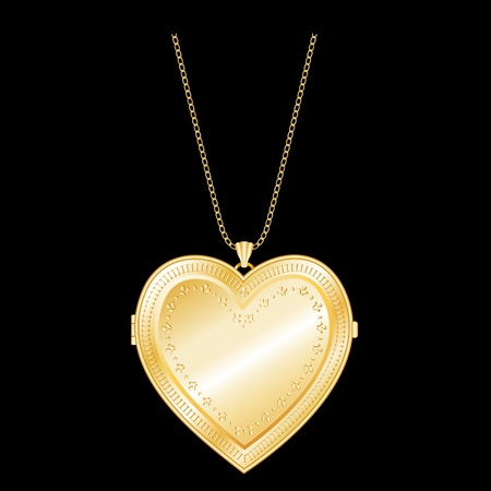 compatible: Engraved Gold Heart Locket, Gold Chain Necklace  compatible