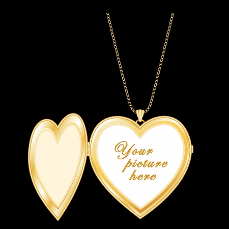 Gold Heart Locket with copy space, Gold Chain Necklace  Copy space  compatible