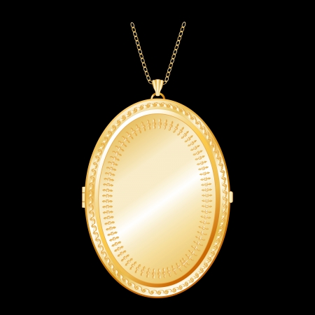 Vintage oval engraved, embossed gold keepsake locket with detailed engraving, chain necklace, isolated on black background. EPS8 compatible.  Vector