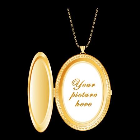 medaglione: Vintage medaglione d'oro ovale con copia spazio, collana a catena Vettoriali