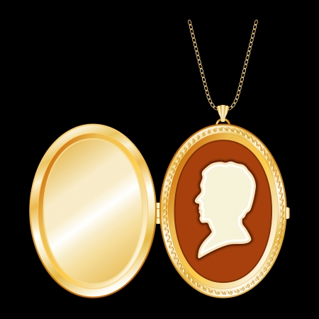 keepsake: Engraved oval gold keepsake locket, vintage man cameo silhouette, chain necklace,isolated on black background. Copy space for picture or text. EPS8 in groups for easy editing. Illustration