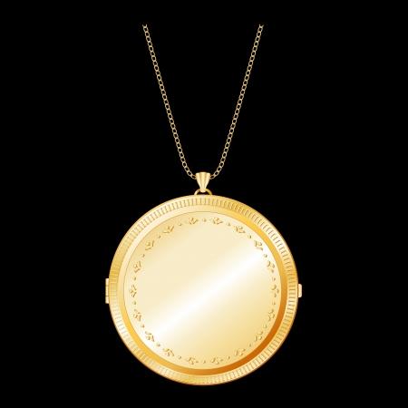 Vintage Gold Keepsake Locket with detailed engraving, chain necklace    Ilustração
