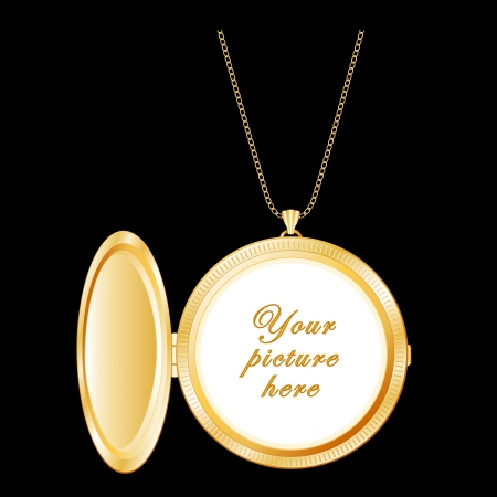Vintage Round Gold Locket with copy space, necklace chain   Çizim