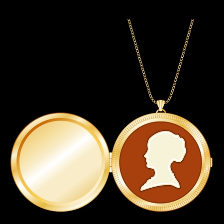 cameo: Vintage Lady s Cameo, Chain Necklace, Antique Gold Locket with copy space
