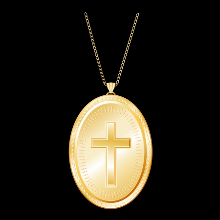 born again: Vintage Christian Cross engraved on Golden Locket, gold chain necklace, isolated on black background  EPS8 compatible