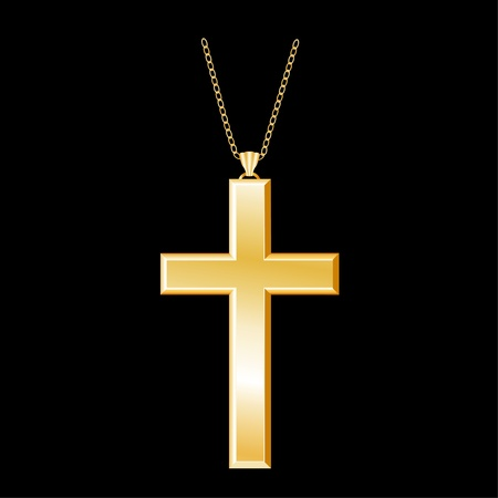 born again: Christian Gold Cross with chain necklace, isolated on black background  EPS8 compatible  Illustration