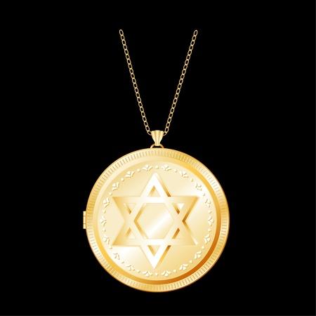 medaglione: Stella di David inciso su Gold Locket, collana catena d'oro, isolato su sfondo nero EPS8 compatibile con Vettoriali