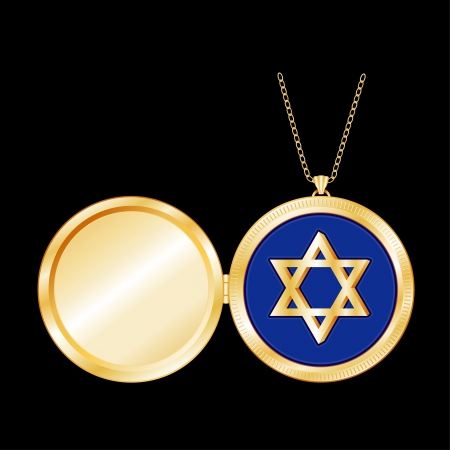 Star of David engraved in Gold Locket with copy space for picture or text, gold chain necklace, isolated on black background  EPS8 compatible  Vector