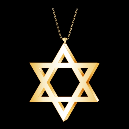 Gold Star of David Pendant, gold necklace chain, isolated on black background  EPS8 compatible  Vector