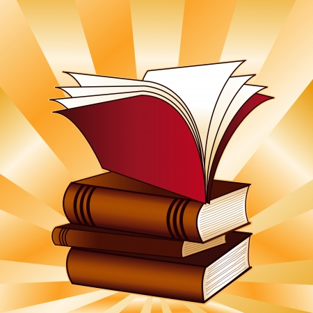 grammar school: Book Stack, ray pattern background, copy space, for back to school, education, literacy projects, scrapbooks