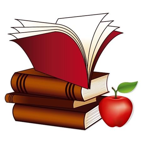 sachant lire et �crire: Pile de livre, de pomme pour le professeur, l'espace de copie, isol� sur fond blanc, de l'�ducation, de retour � l'�cole, les projets d'alphab�tisation, des albums