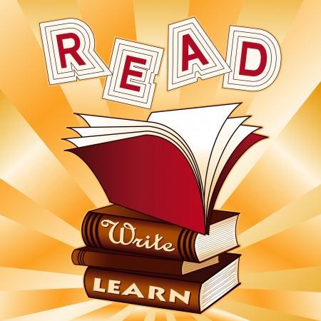 escuela primaria: Leer, escribir, aprender pila de libros, patr�n de fondo de rayos, para la educaci�n, volver a la escuela, proyectos de alfabetizaci�n, libros de recuerdos Vectores
