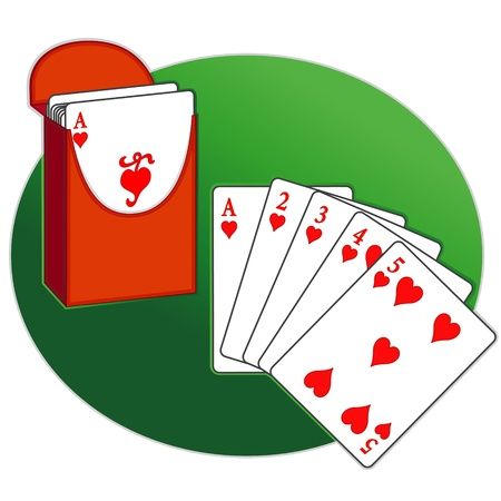Poker, Straight Flush, box of playing cards, green background