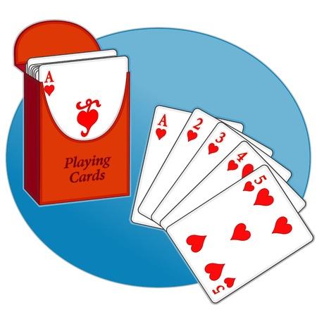 Poker, Straight Flush, Schachtel mit Spielkarten-, Text- Standard-Bild - 13850512