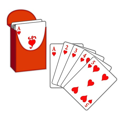 Poker, Straight Flush, box of playing cards, isolated on white