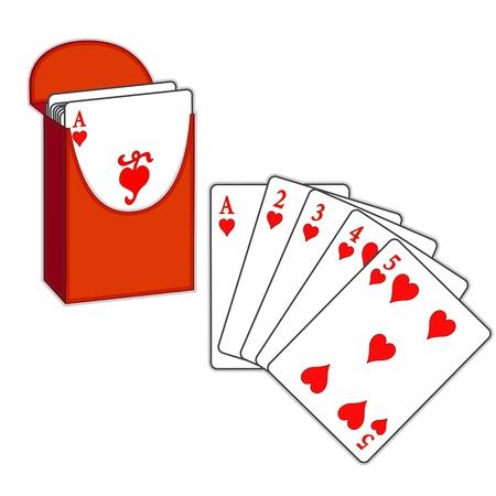 Poker, Straight Flush, Box von Spielkarten, isoliert auf weiß Standard-Bild - 13850502