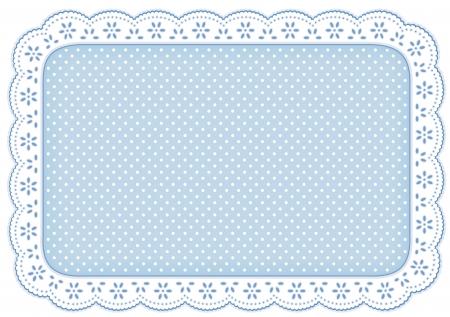 테이블, 스크랩북, 배경 설정 장식 가정을위한 파스텔 블루 구멍 레이스에 물방울 무늬 레이스 냅킨 플레이스 매트, 스톡 콘텐츠 - 13866755