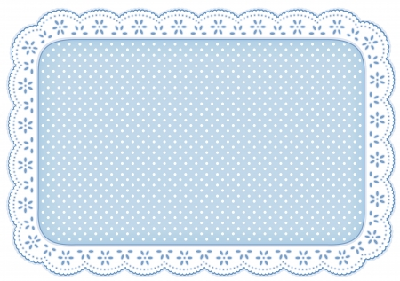 Polka Dot Lace Doily Place Mat in pastel blue  eyelet lace for home decorating, setting table, scrapbooks, backgrounds  Stock Vector - 13866755