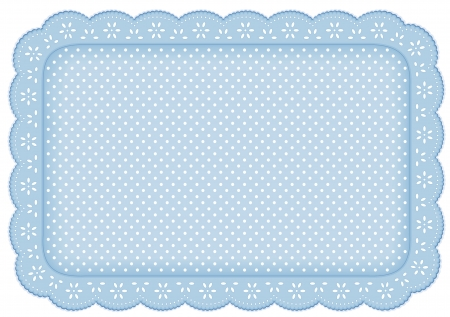 Polka Dot Lace Doily Place Mat in pastel blue  eyelet lace for home decorating, setting table, scrapbooks, backgrounds  Vector