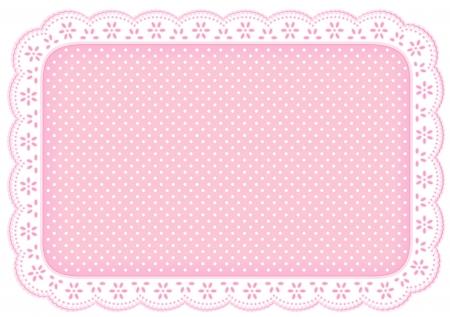 가정 장식을위한 파스텔 핑크 작은 구멍 레이스에 물방울 무늬 레이스 냅킨 플레이스 매트, 테이블, 스크랩북, 배경 설정 스톡 콘텐츠 - 13866754