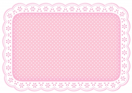 lace doily: Polka Dot Lace Doily Place Mat in pastel pink  eyelet lace for home decorating, setting table, scrapbooks, backgrounds