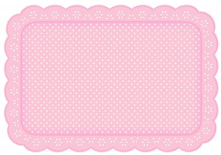 가정 장식을위한 파스텔 핑크 작은 구멍 레이스에 물방울 무늬 레이스 냅킨 플레이스 매트, 테이블, 스크랩북, 배경 설정 일러스트