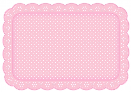 Polka Dot Lace Doily Place Mat in pastel pink  eyelet lace for home decorating, setting table, scrapbooks, backgrounds   Vector