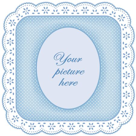 Picture Frame, White Eyelet Lace Doily, polka dots on pastel blue, copy space for scrapbooks, albums, baby books Stock Vector - 13904100