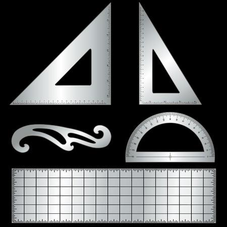 Metall-Drafting-Tools für Architektur und Technik auf schwarzem Hintergrund isoliert Dreieck 45 Grad, 60 Grad Dreieck, Lineal, Französisch Kurve, Winkelmesser Standard-Bild - 13904096