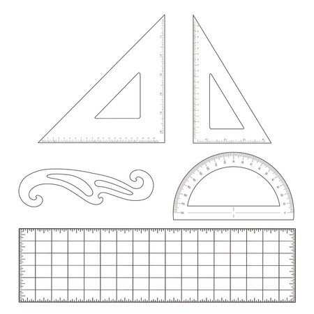 Drafting Tools for architecture and engineering  45 degree triangle, 60 degree triangle, ruler, French Curve, protractor   Ilustracja
