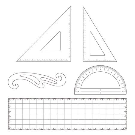 Opstellen Tools voor architectuur en engineering van 45 graden driehoek, 60 graden driehoek, liniaal, Franse Curve, gradenboog