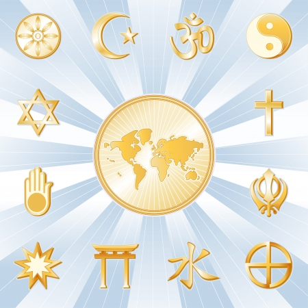 World Religions surrounding earth map  Buddhism, Islam, Hindu, Taoism, Christianity, Sikh, Native Spirituality, Confucian, Shinto, Baha i, Jain, Judaism  Gold ray and pale blue background