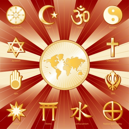 World Religions surrounding earth map, labels  Buddhism, Islam, Hindu, Taoism, Christianity, Sikh, Native Spirituality, Confucian, Shinto, Baha i, Jain, Judaism  Gold ray and crimson background