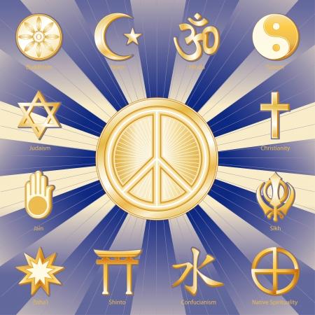 paz mundial: Religiones del Mundo que rodean el símbolo de paz internacional, las etiquetas de budismo, el islamismo, el hinduismo, el taoísmo, el cristianismo, sikh, la espiritualidad indígena, Confucio, el sintoísmo, i Baha, Jain, el judaísmo Oro ray y fondo azul Vectores