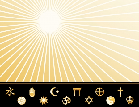 Religions Poster, 12 international faith symbols, copy space to add text or art, gold ray pattern background  Vector