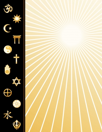 confucianism: Religions Poster, 12 international faith symbols, copy space to add text or art, gold ray pattern background